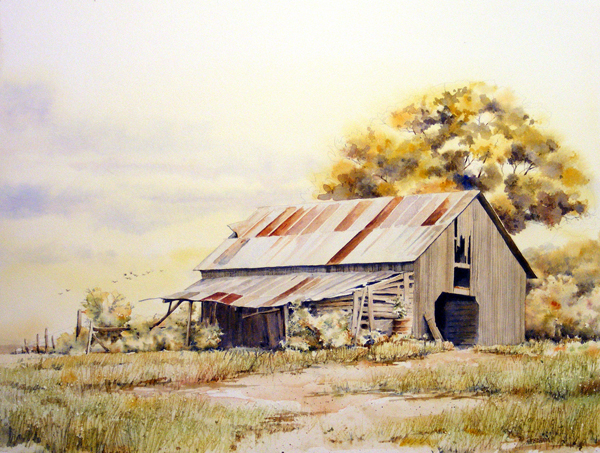 Rustic Barn by Thomas A Needham - RUSTIC BARN - Landscape Painting