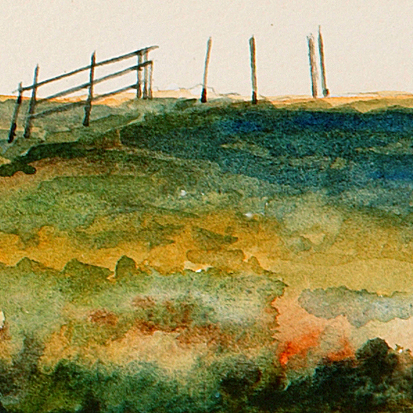 Detail of SUNDOWN watercolor landscape by Thomas A Needham