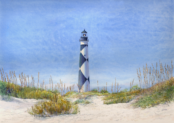Cape Lookout Lighthouse watercolor by Thomas A Needham