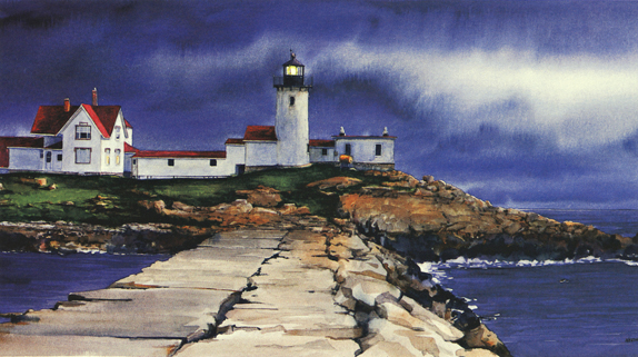 Eastern Point Light Watercolor by Thomas A Needham