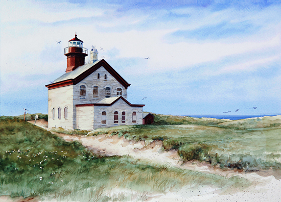 North Block Island lighthouse watercolor by Thomas A Needham