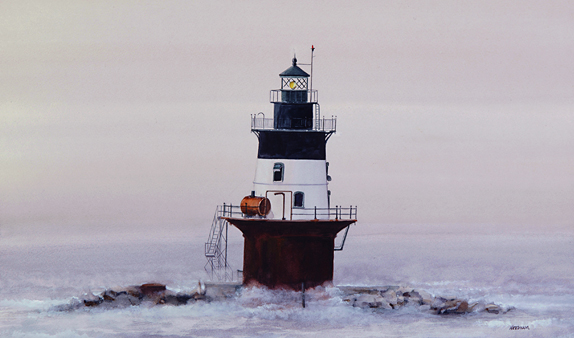 Orient Point Lighthouse Watercolor by Thomas A Needham