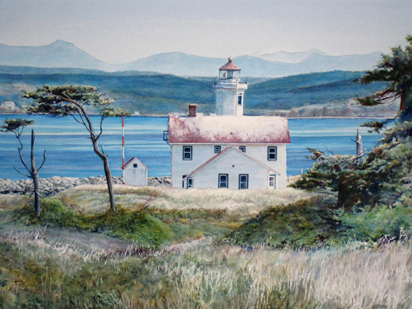 Point Wilson Lighthouse watercolor by Thomas A Needham