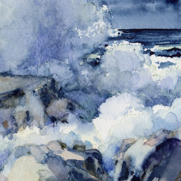 Detail of MOON AND SEA watercolor seascape by Thomas A Needham