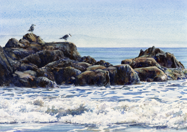 ROCK KINGS seascape watercolor by Thomas A Needham