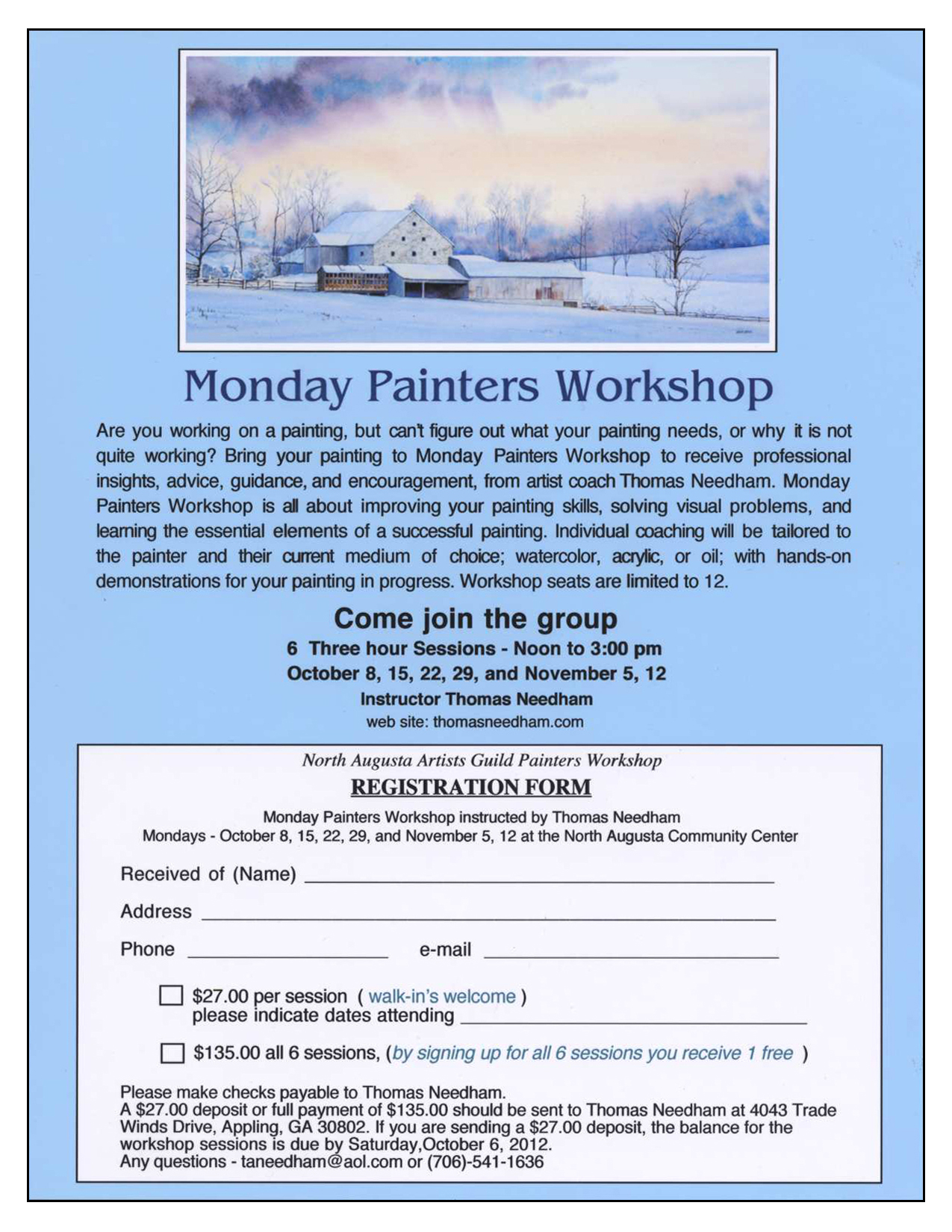 Monday Painters Workshop With Artist Coach Thomas Needham